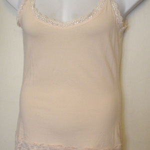 Sundance Peach Lace Trim Cami Tank Layer Sz M EC